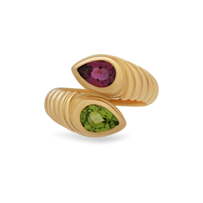 Bvlgari 18K Yellow Gold Doppio Pink and Green Tourmaline Ring