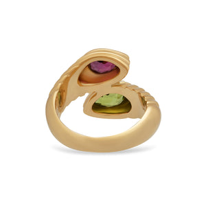 Bvlgari 18K Yellow Gold Doppio Pink and Green Tourmaline Ring Size: 5.75