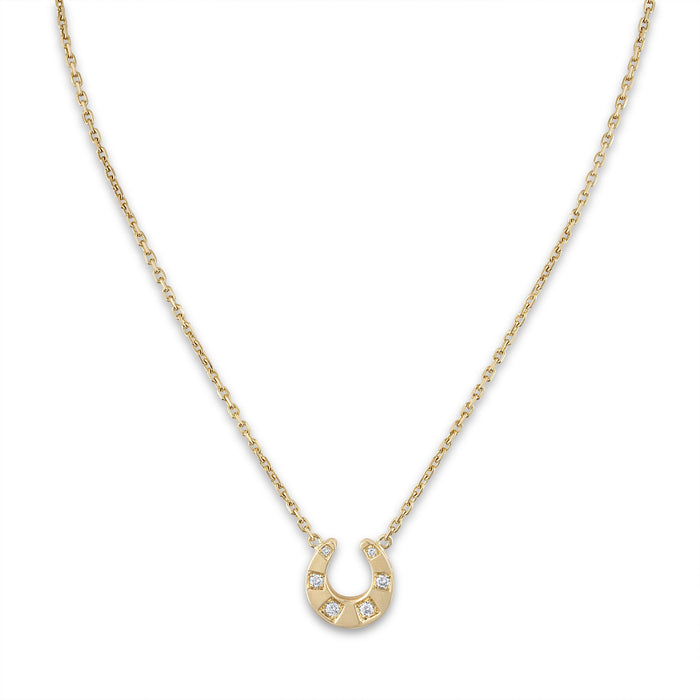 Hermes 18K Yellow Gold Horshoe Diamond Necklace Length: 15""