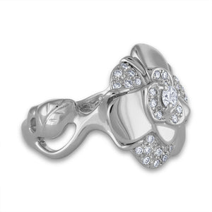 Chanel 18K White Gold Camelia Diamond Ring Size: 5.75