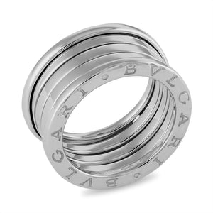 Bvlgari 18K White Gold B.Zero1 4 Band Ring Size: 9