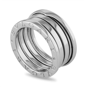 Bvlgari 18K White Gold B.Zero 4 Band Ring Size: 6