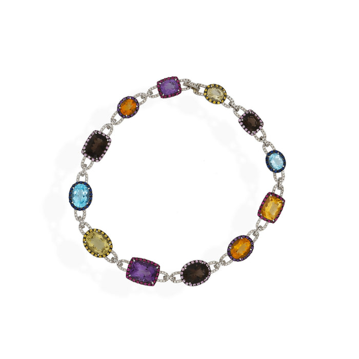 Estate Angelo's 18K White Gold Amethyst, Topaz, Citrine and Diamond Necklace and Earrings Set