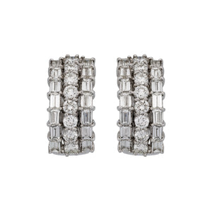 Estate Platinum Baguette and Round Diamond Earrings