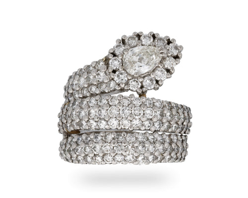 Estate Platinum Diamond Snake Ring Size 6