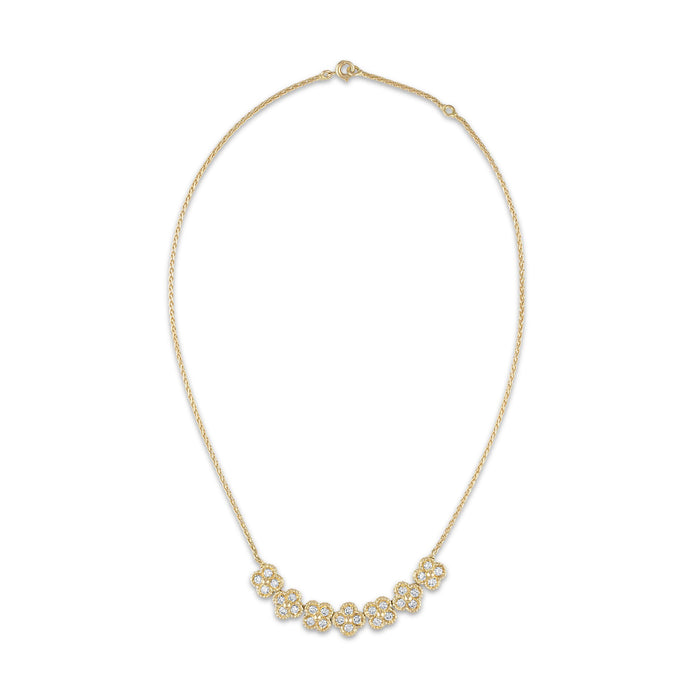 Van Cleef & Arpels 18K Yellow Gold Trefle Diamond Rope Link Necklace