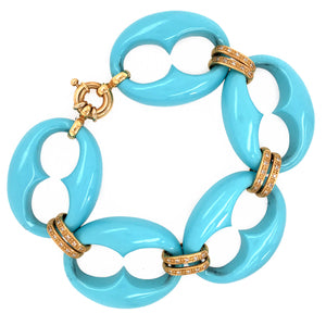 Modern 18k Yellow Gold Turquoise and Diamond Bracelet