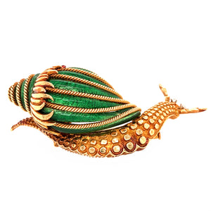 David Webb 18k Yellow Gold Green Enamel Snail Brooch