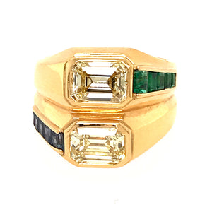 Bulgari 18k Yellow Gold Double Diamond Emerald Cut Double Ring
