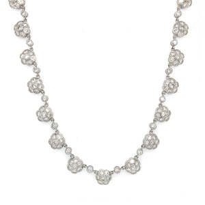 Vintage 18k White Gold Diamond Flower Necklace
