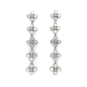 18k White Gold Bezel Set Diamond Drop Earrings