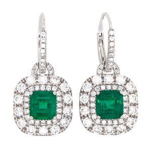 18k White Gold Emerald and Diamond Drop Earrings