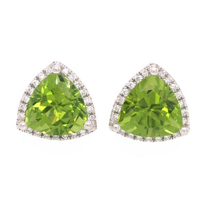 18k White Gold Peridot and Diamond Studs Earrings