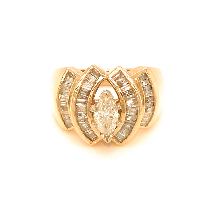 14k Yellow Gold Marquise Cut Center Diamond Ring