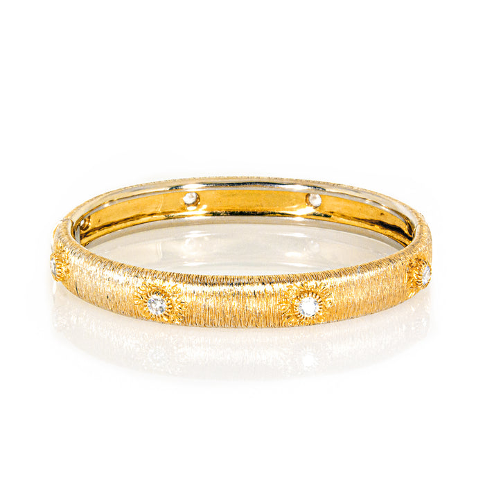 Estate 18K Yellow Gold Textured Diamond Bangle Bracelet