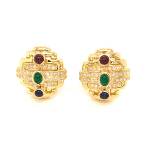 18k Yellow Gold Precious Stone and Diamond Earrings