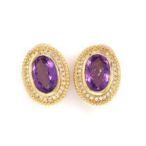 Estate 14K Yellow Gold Amethyst and Diamond Earrings