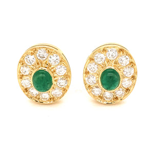 18k Yellow Gold Emerald Cabochon and Diamond Earrings