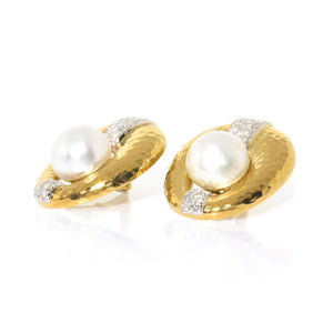 Estate David Webb 18K Yellow Gold and Platinum Pearl and Diamond Earrings