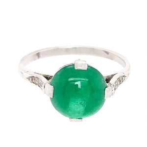 18k White Gold Emerald Cabochon Solitaire Ring