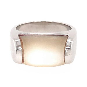 Bvlgari 18K White Gold MVSA Mother of Pearl Ring Size 5