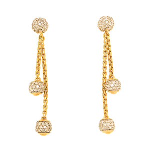 David Yurman 18K Yellow Gold Diamond Ball Drop Earrings
