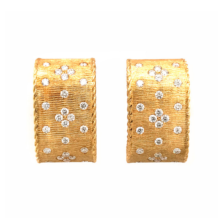 Roberto Coin 18K Yellow Gold Fleur De Lis Diamond Earrings
