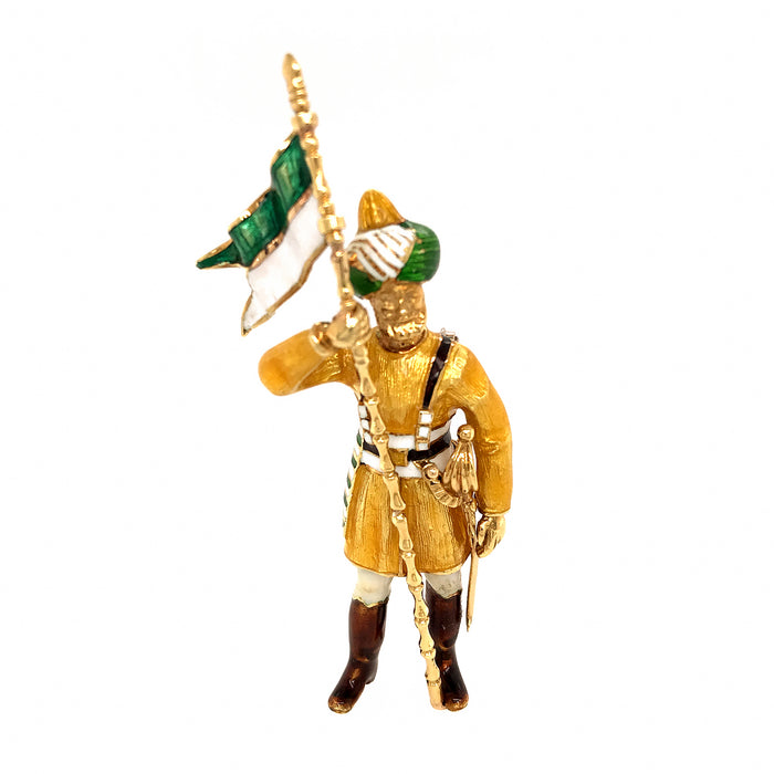 18k Yellow Gold Enamel Soldier Brooch