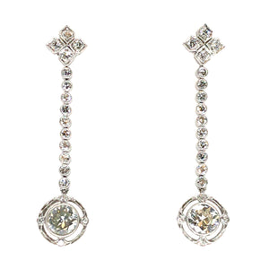 Platinum Art Deco Drop Diamond Earrings
