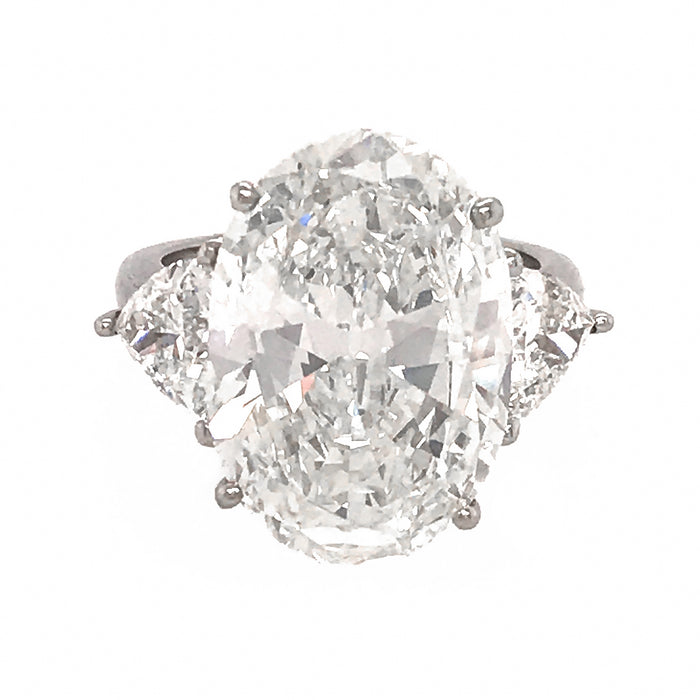 Spectacular Ring with 10.02 Carat Oval Diamond Ring set in Platinum with Trillions.