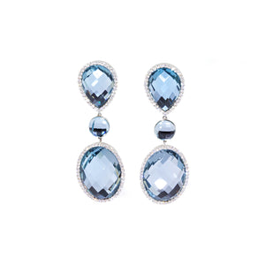 Estate Roberto Coin 18K White Gold Topaz and Diamond Earrings