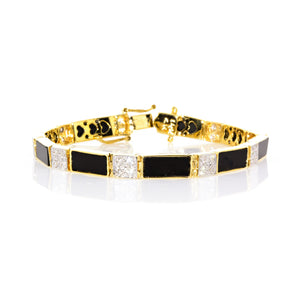 Estate 14K Yellow Gold Black Onyx and Diamond Bracelet