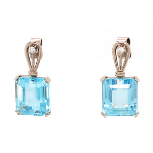 14k White Gold Diamond and Aquamarine Hanging Earrings