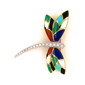 Asch Grossbardt 14K Yellow and White Gold Dragonfly Diamond Pin