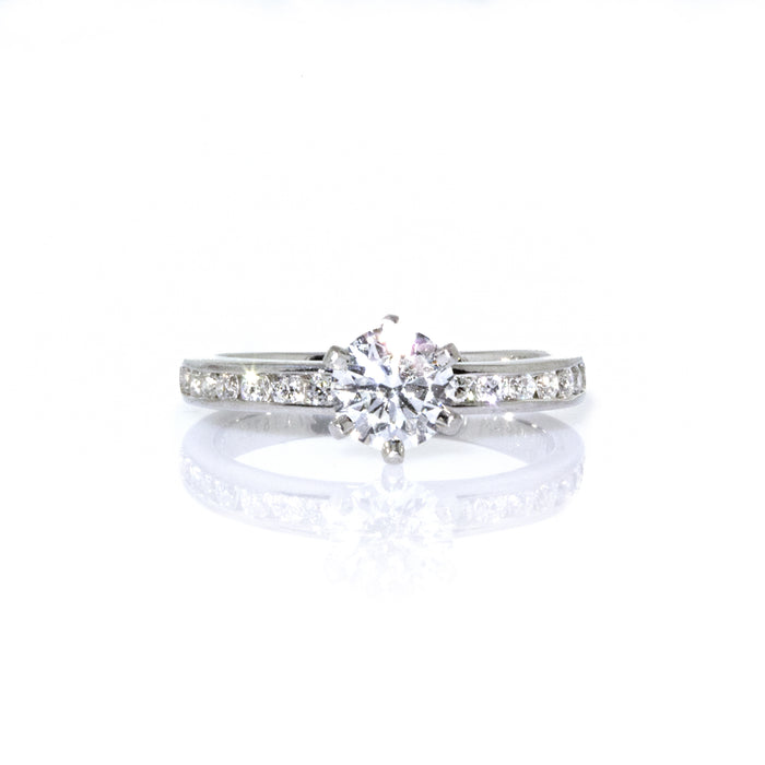 Tiffany & Co. Platinum Setting with a Channel Set Diamond Engagement Ring