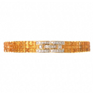 18k Yellow Gold Diamond and Yellow Sapphire Bracelet