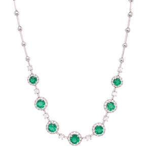 18k White Gold Emerald and Diamond Station Necklace
