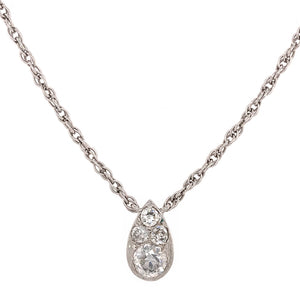 14k White Gold Art Deco Style Diamond Pendant Necklace