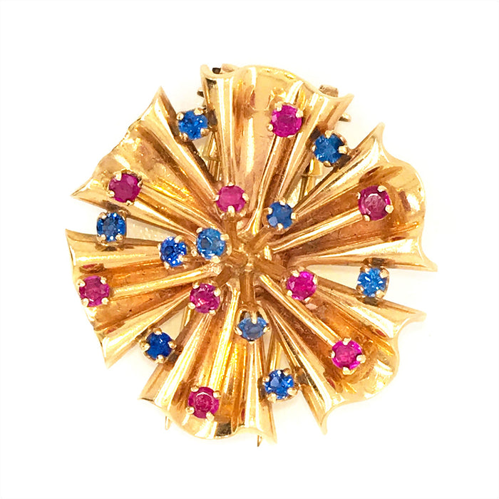Beautiful Retro 14K Yellow Gold Ruby and Sapphire Brooch