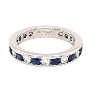 Tiffany and Co. Platinum Diamond and Sapphire Eternity Band