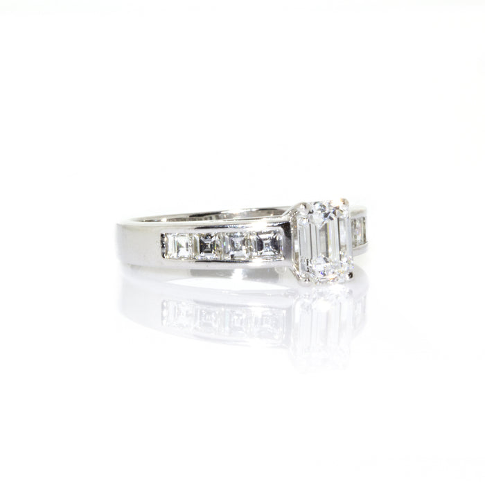 Estate Platinum GIA Certified Emerald Cut Diamond Engagement Ring Size: 6.75