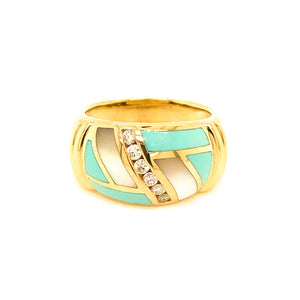 Asch Grossbardt Turquoise and Mother of Pearl and Diamond Ring