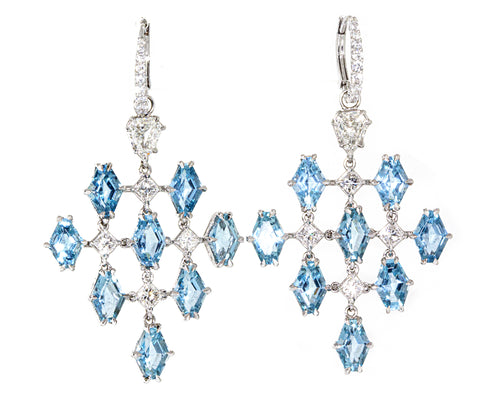 Lugano 18K White Gold Aqua and Diamond Hanging Earrings
