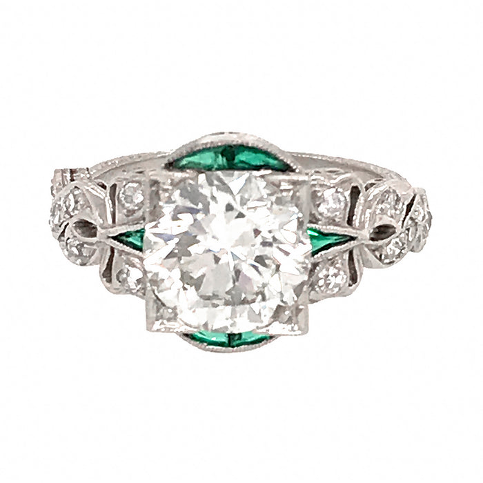 Platinum Art Deco Round Diamond Engagement Ring