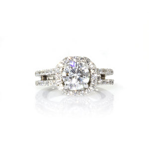 Estate 18K White Gold GIA Certified Round Cut Diamond Engagement Ring