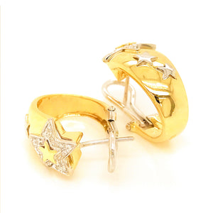 Estate Wempe 18K Yellow and White Gold Stars Diamond Earrings