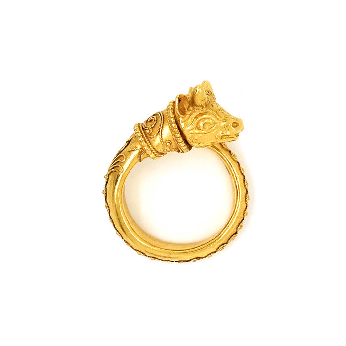 Zolotas 22k Yellow Gold Vintage Greek Revival Animal Head Ring