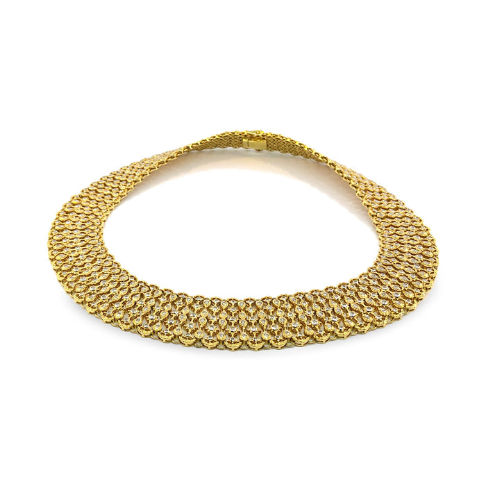 Elegant 18K Yellow Gold Diamond Wide Necklace Length: 17""