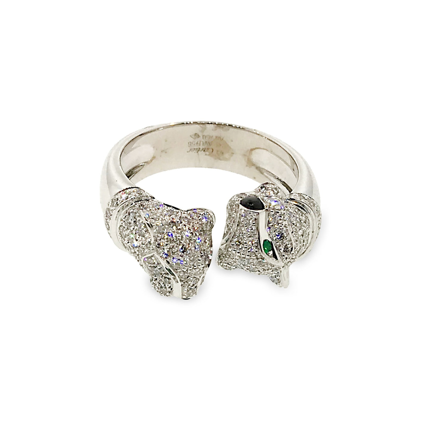 55da232bc8271 Cartier 18K White Gold 2 Heads Panthere Diamond, Onyx and Emerald Ring  Size: 8.75
