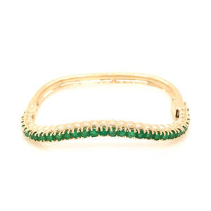 14k Yellow Gold Emerald Nesting Bangle Bracelet